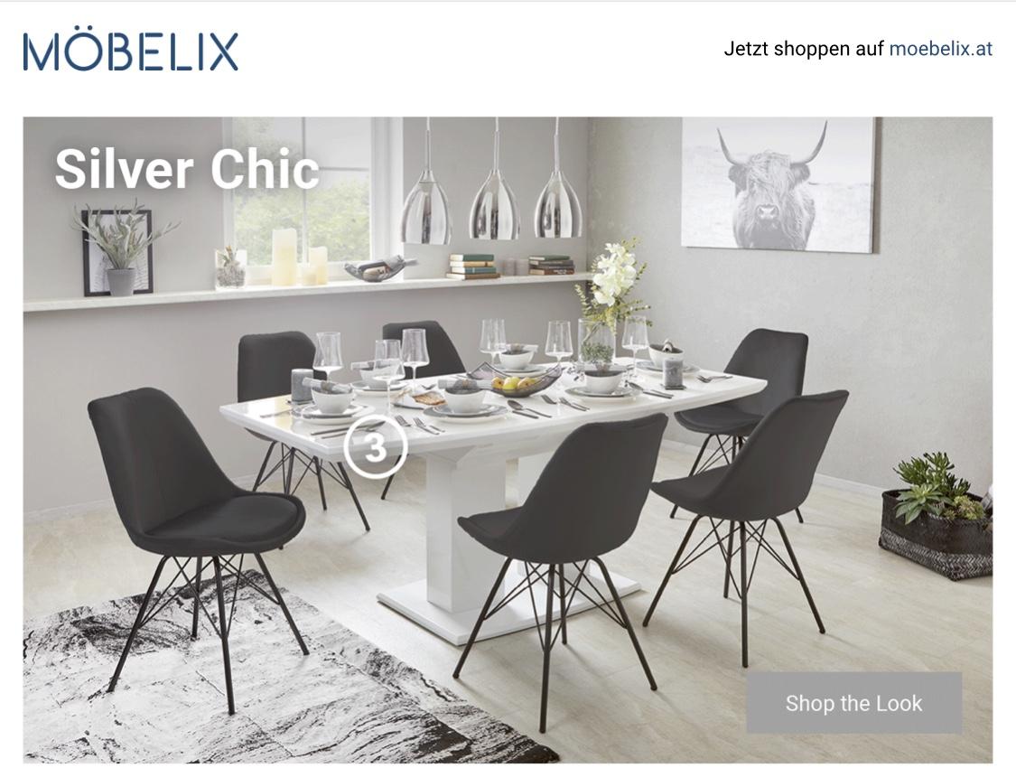 """Möbelix: Shop the Look """"Silver Chic"""" - Wahlweise Rabatt bis zu 60%"""