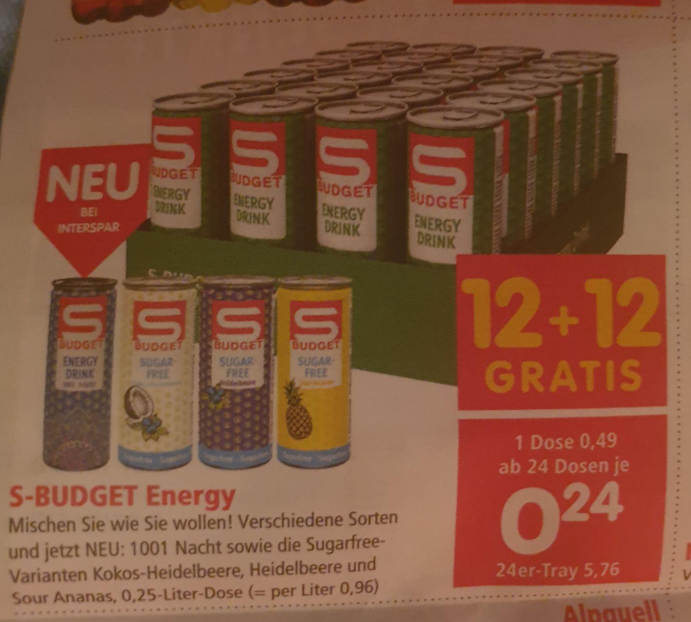 (Spar) S-Budget Energy ab 24 Stück - 50% (12+12 Gratis)