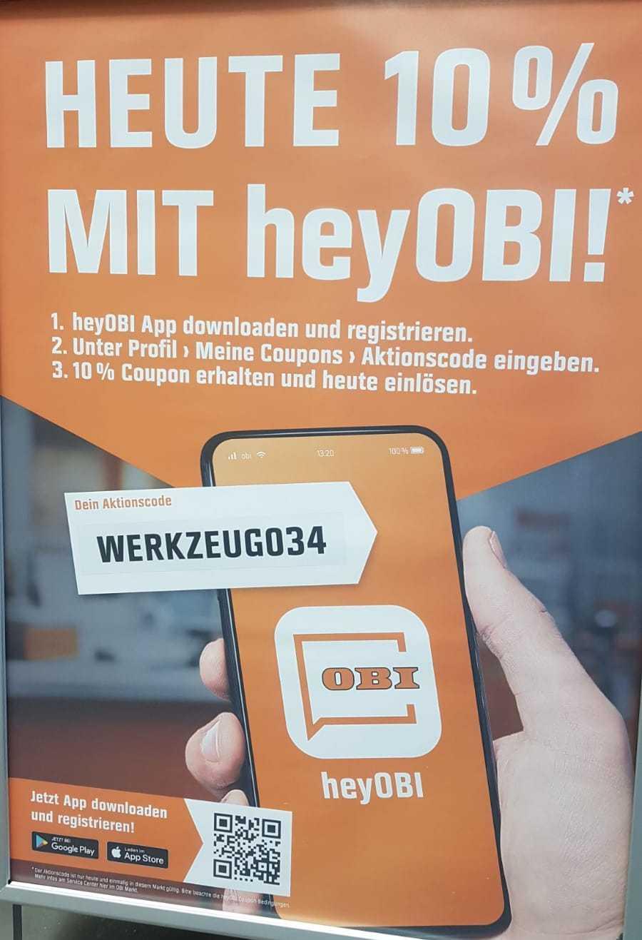 [Obi] -10% auf den Einkauf (nur Filiale Triesterstraße?), mit der heyOBI App