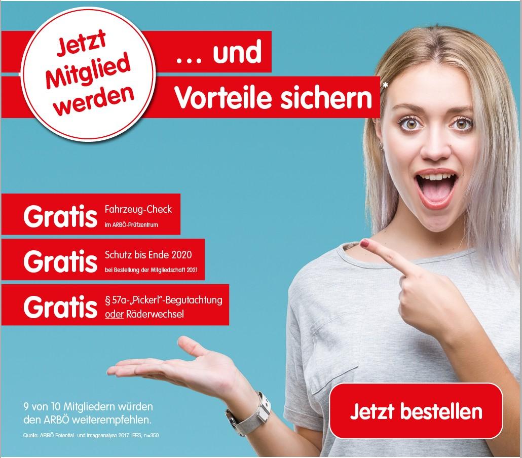 ARBÖ Mitgliedschaft für 2021 + Gratis Pickerl und + Gratis Mitgliedschaft für 2020