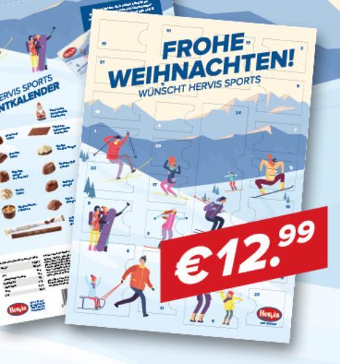 Hervis: Adventkalender mit mind. 10€ Gutscheinen + ca. 240g Hachez Pralinen