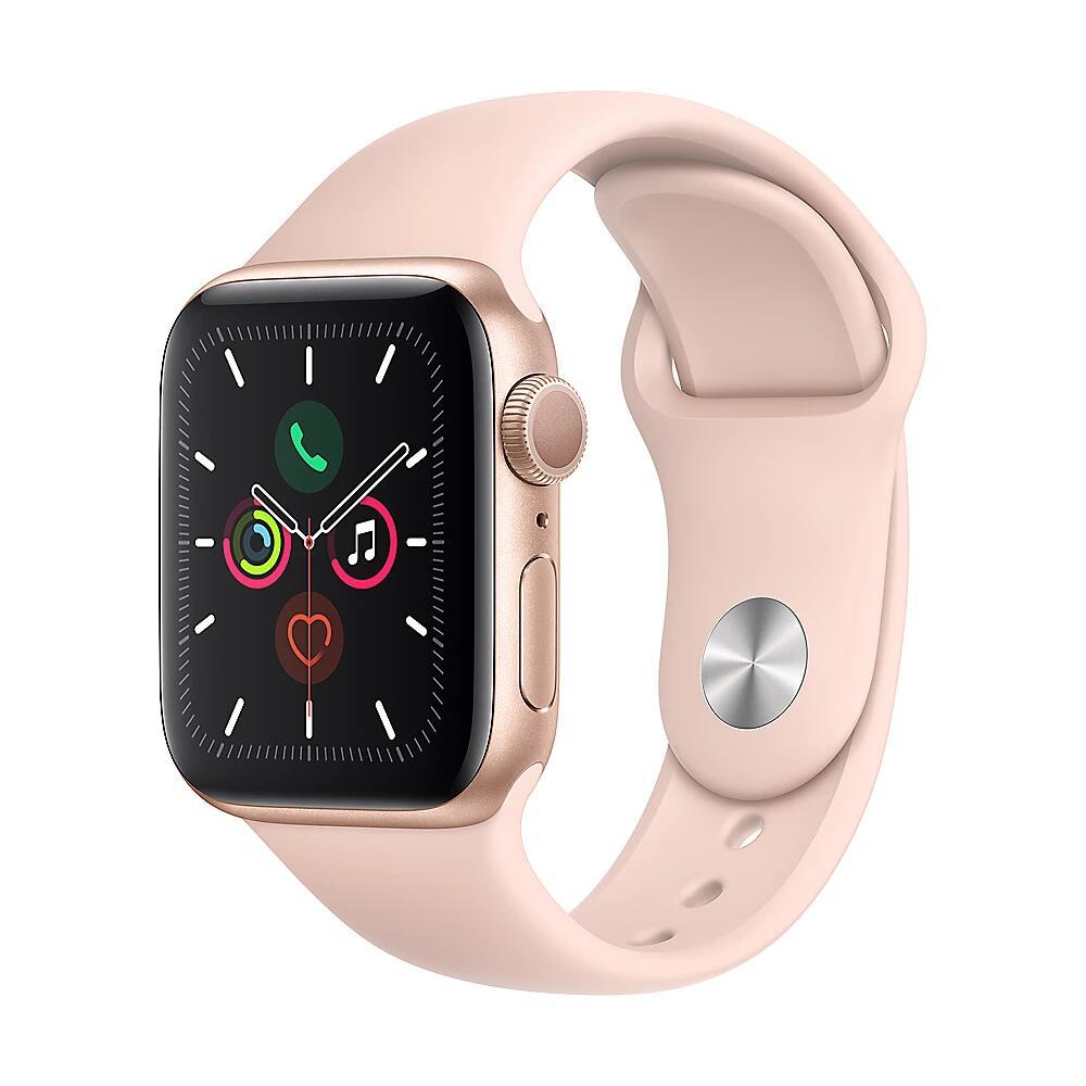 Apple Watch Series 5 GPS 40mm Aluminiumgehäuse Gold mit Sportarmband Sandrosa
