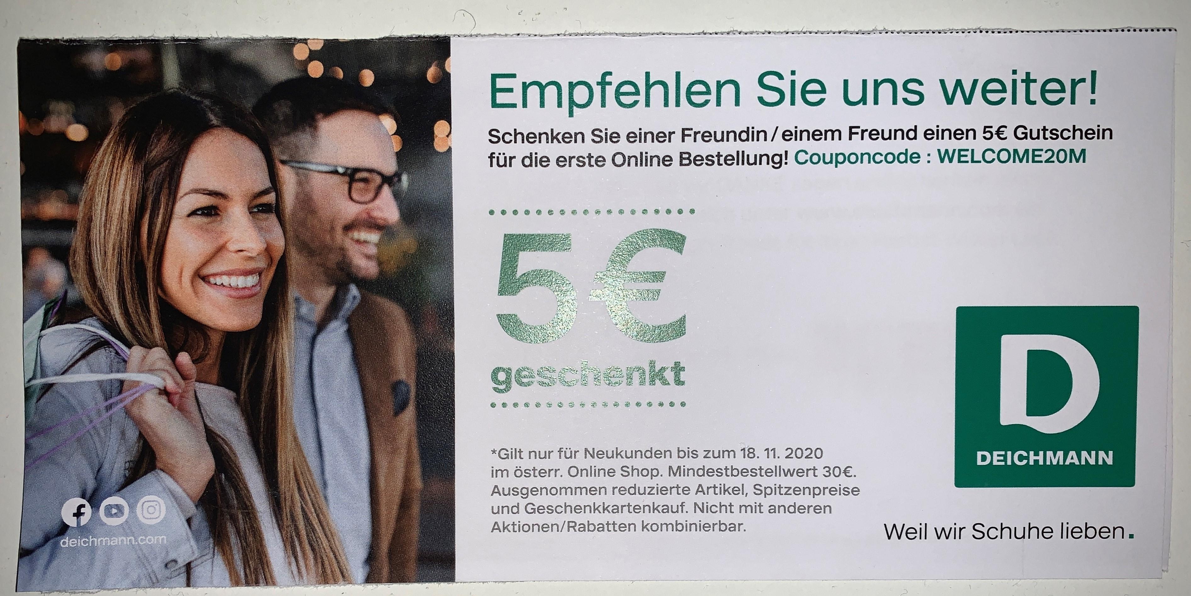 5€ für Neukundn bei Deichmann