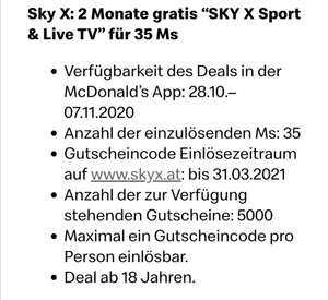 2 Monate Sky X Sport & Live TV für 17 McDonald's Ms
