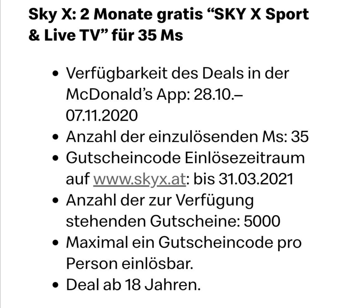 2 Monate Sky X Sport & Live TV für 35 McDonald's Ms