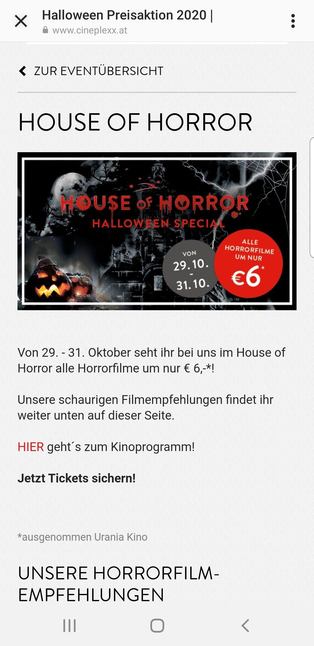 "Cineplexx ""Horror House"" um 6€ ins Kino"