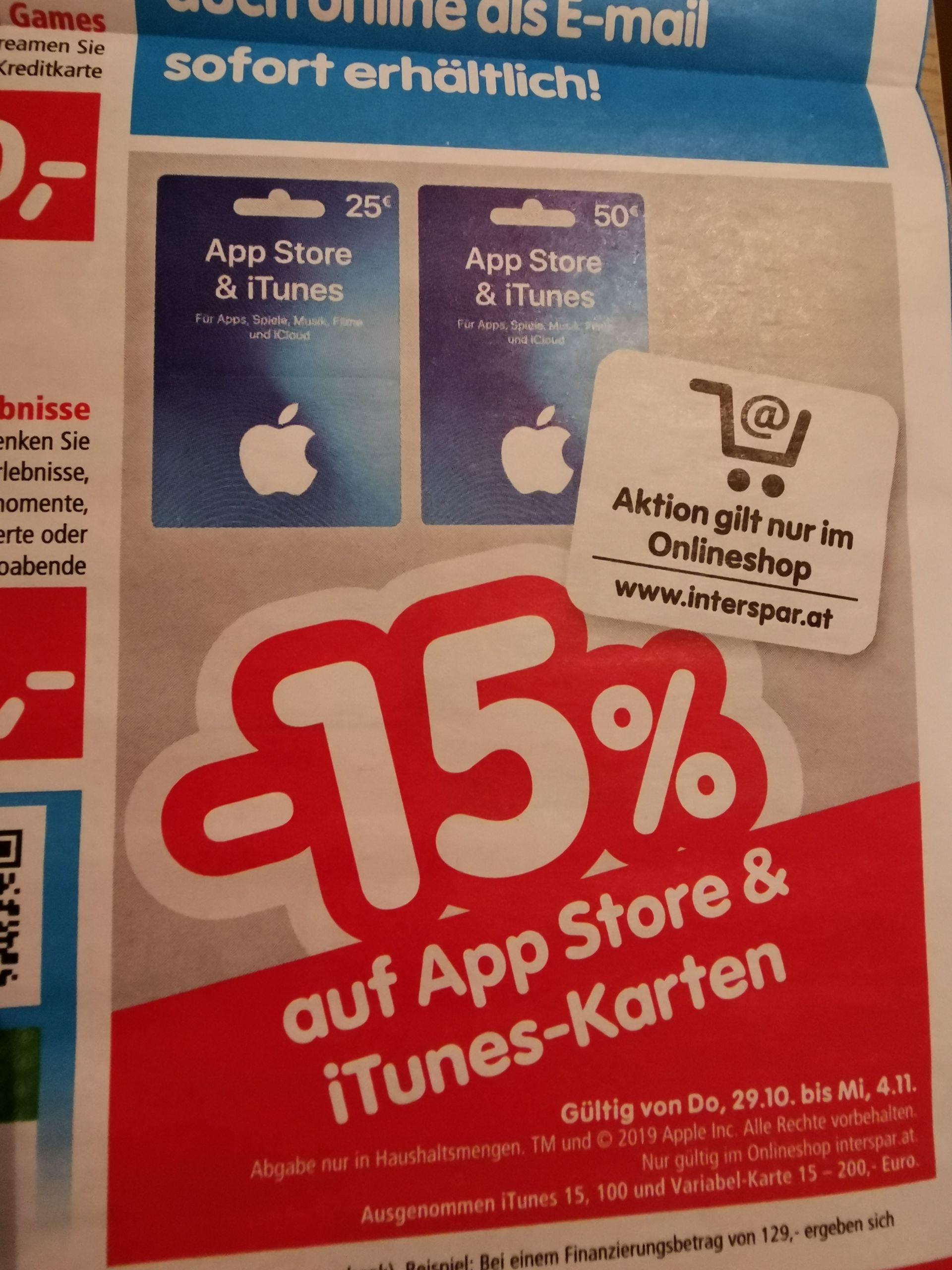 Interspar bietet 15% auf App-Store und ITunes Gutscheinkarten