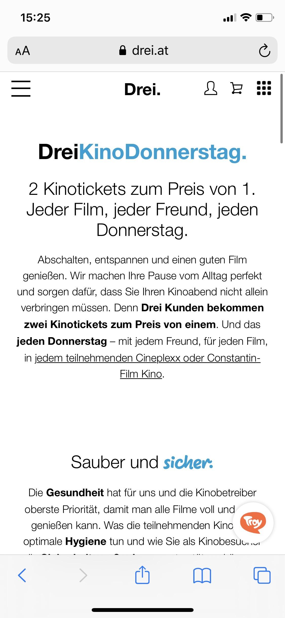 Drei KinoDonnerstag 2 Tickets zum Preis von 1