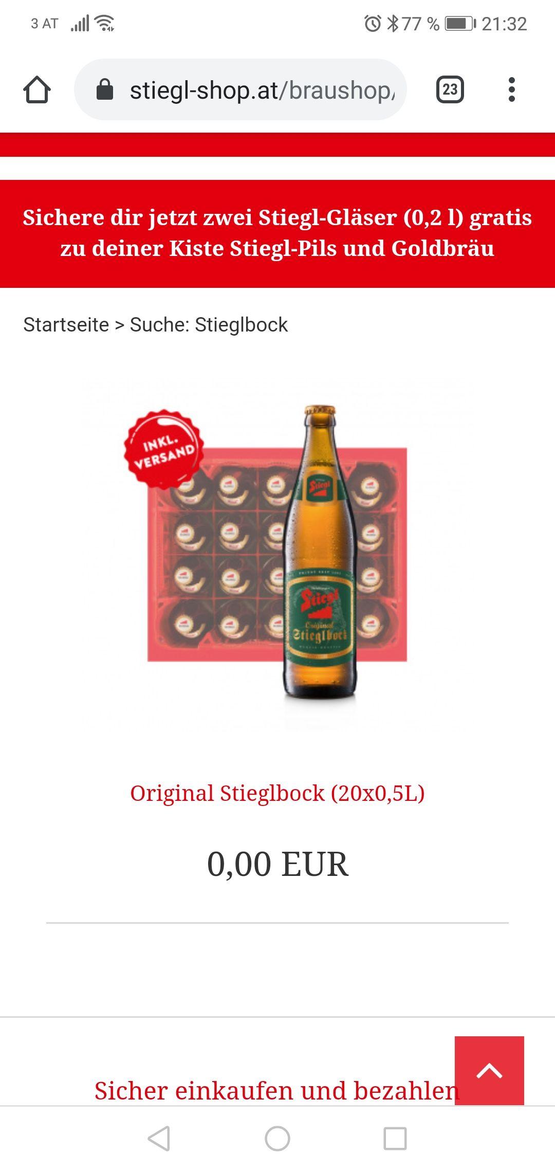 Original Stieglbock Kiste gratis