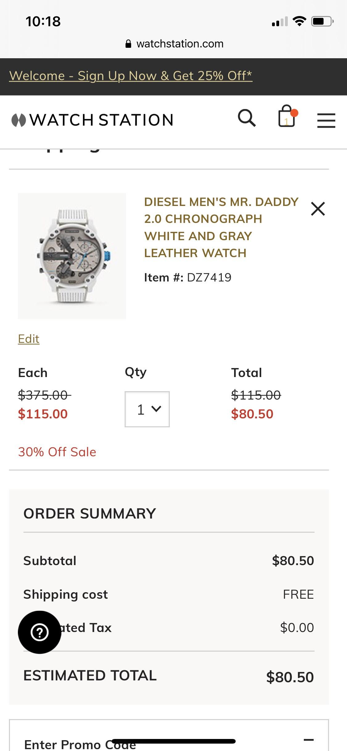 Diesel Uhr von 375 auf 80,5 dollar reduziert