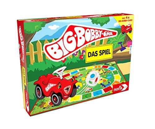 Noris BIG-BOBBY-CAR, Das Spiel - ein lustiges Würfel-Rennspiel für alle Fans - inkl. vier Mini Bobby Cars, ab 3 Jahren