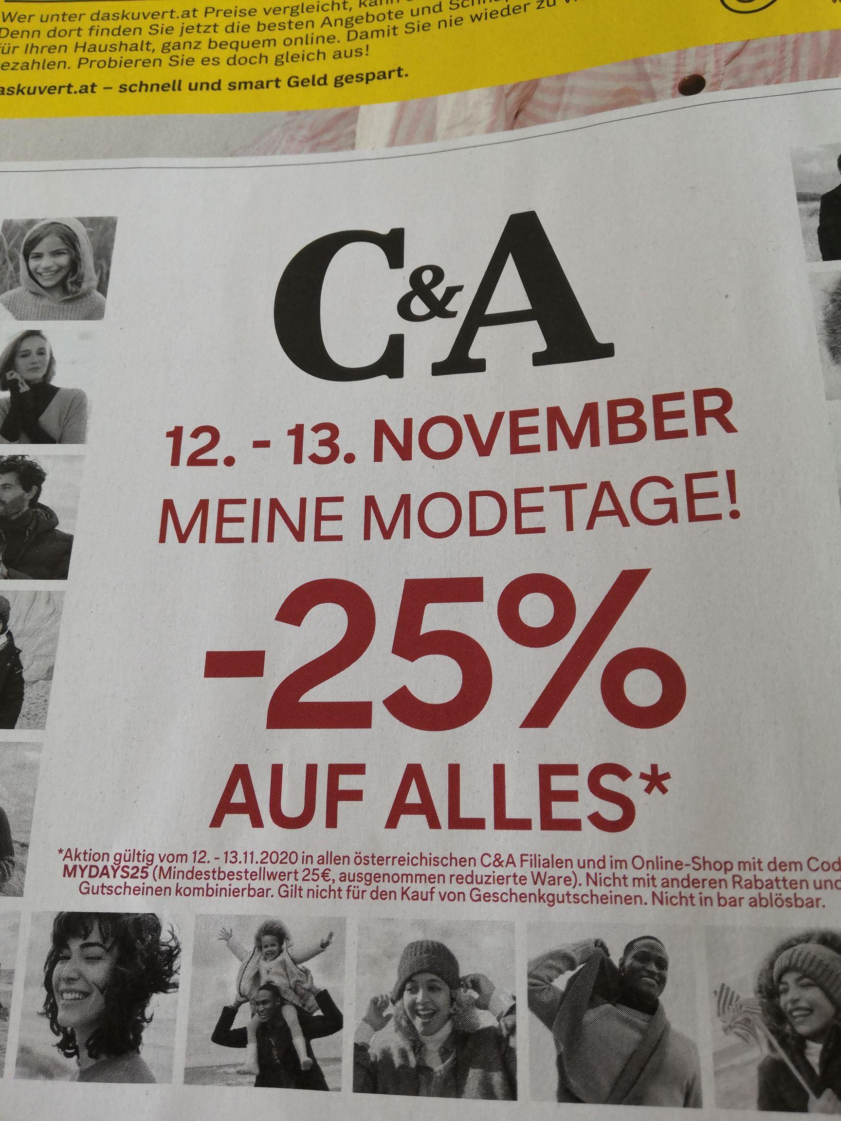 C&A: - 25% auf nicht-reduzierte Ware ab 25€