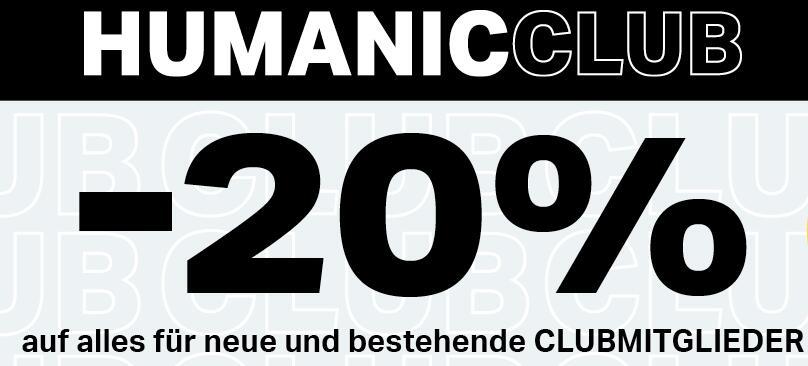 Humanic: 20% Rabatt auf alles für Clubmitglieder