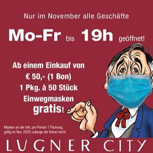 @Lugner City - GRATIS 50 Stück MNS Masken ab einem Einkaufswert von 50€