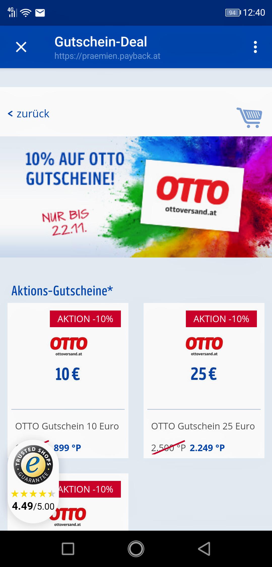 PAYBACK-Prämienshop: OTTO-Versand Geschenkgutscheine -10%