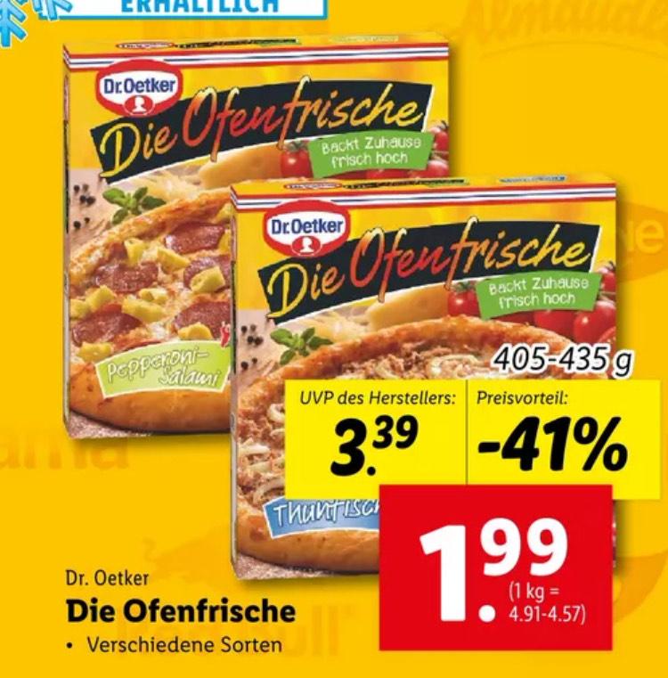 Dr. Oetker die Ofenfrische Pizza -41% bei Lidl