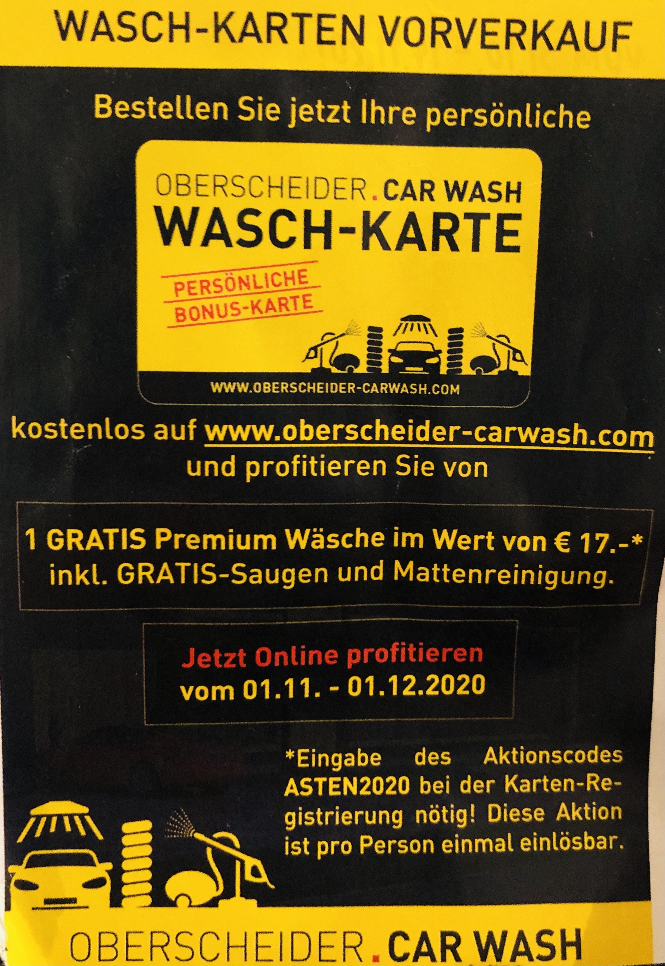 [Lokal: Wels/St.Pölten/Rankweil/Lustenau/Asten] GRATIS Premium Autowäsche