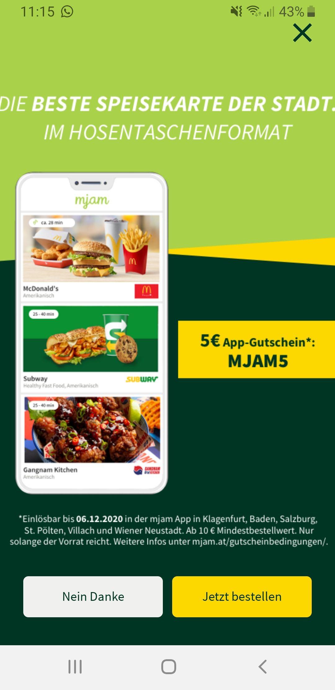 MJAM 5€ App Gutschein (regional)
