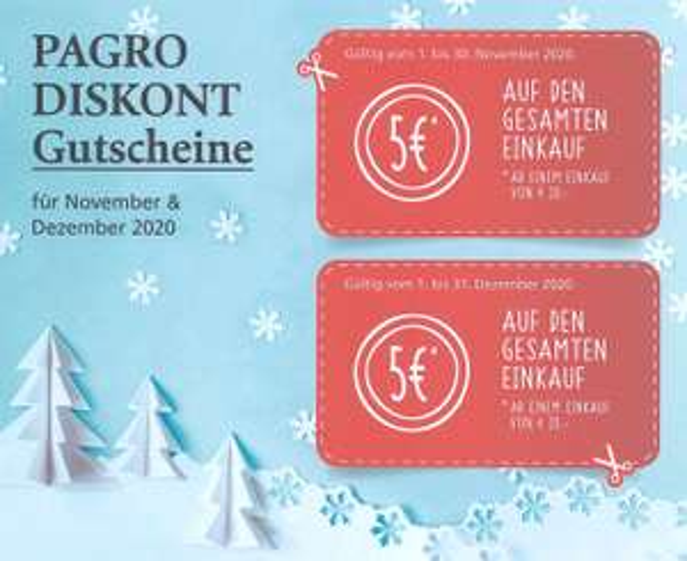 PAGRO-Diskont: 2 Gutscheine -5 € ab jeweils 20 € Einkaufswert