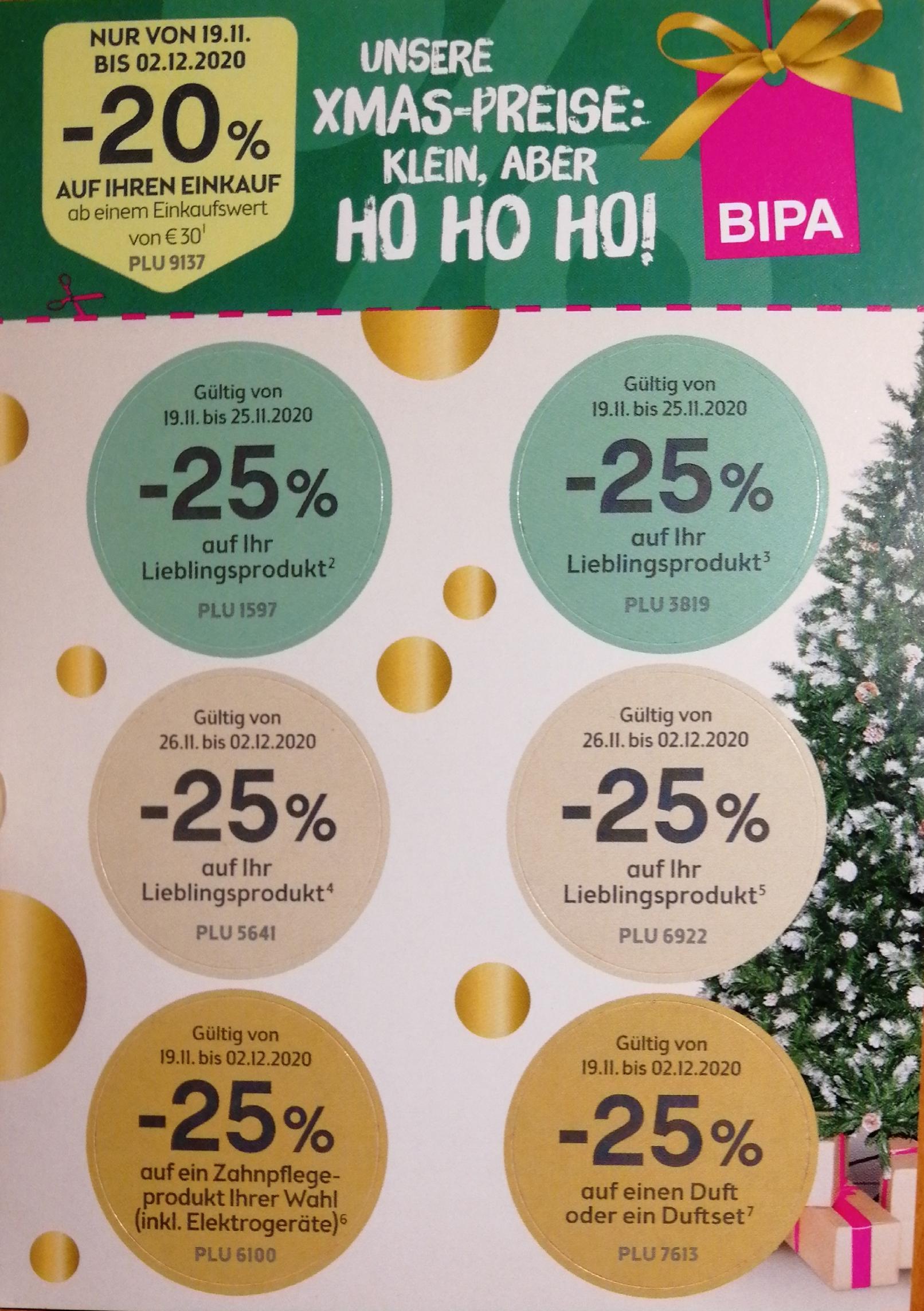 BIPA -25% Sticker & -20% GS ab €30 Einkaufswert; offline & online