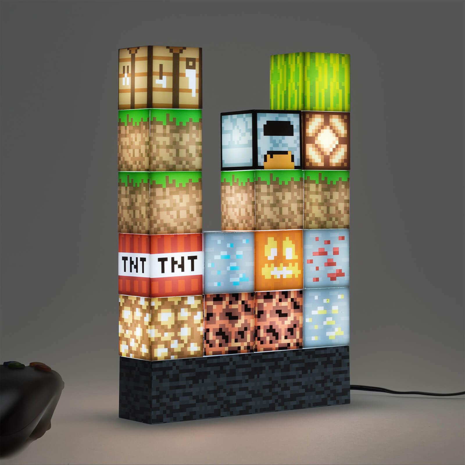 Minecraft Block Building Light mit 16 verschiebbaren Lichtblöcken und Bettsteinbasis