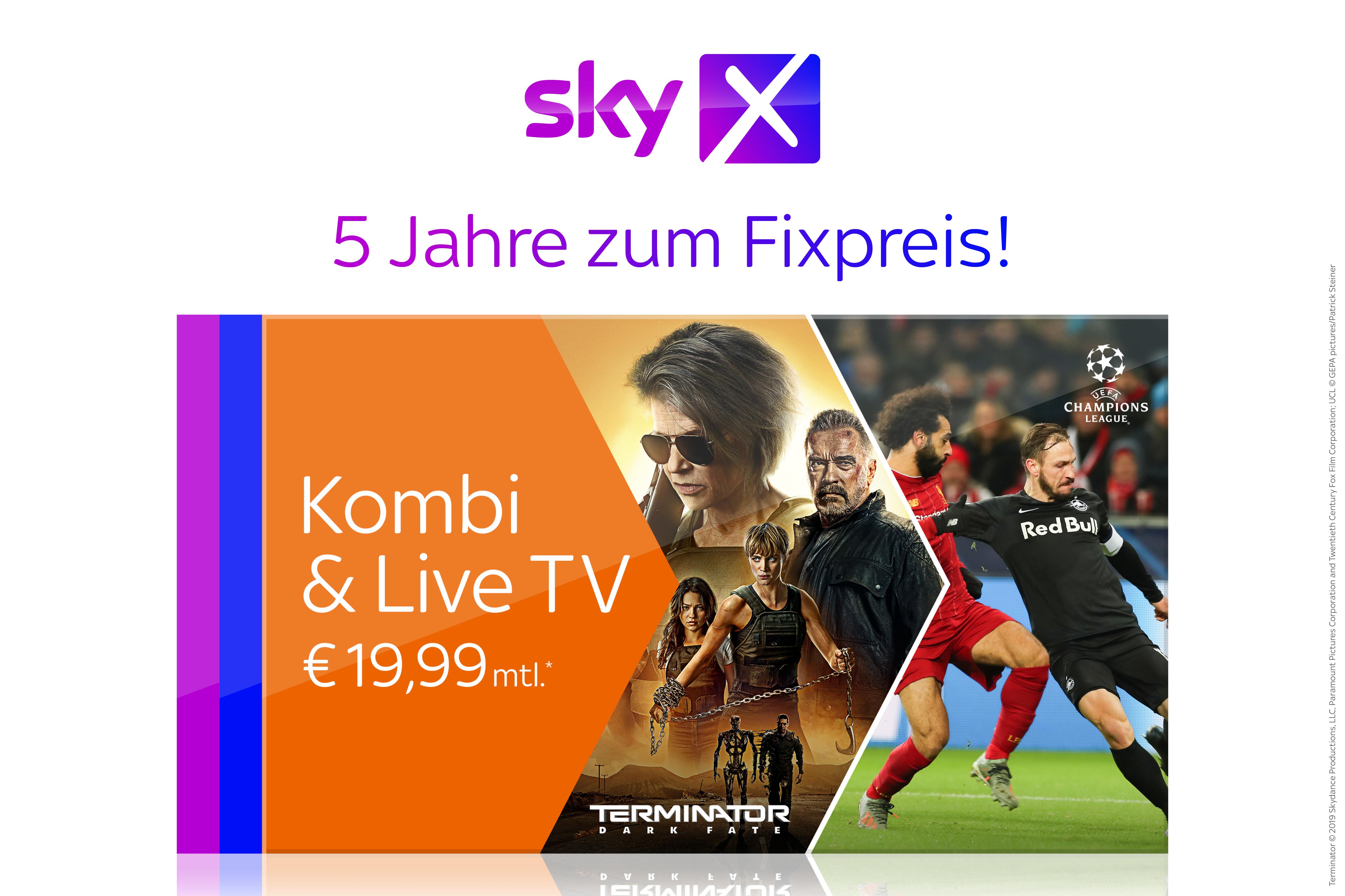 Sky X Kombi & Live TV fünf Jahre lang zum Fixpreis von € 19,99 statt 34,99 €