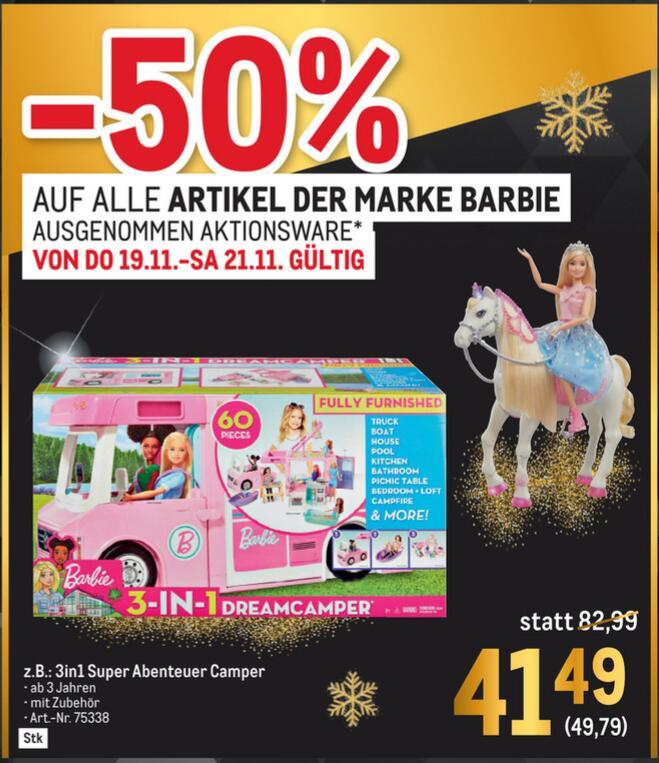 [Metro] 50% auf alle Artikel der Marke Barbie (ausgenommen Aktionsware)