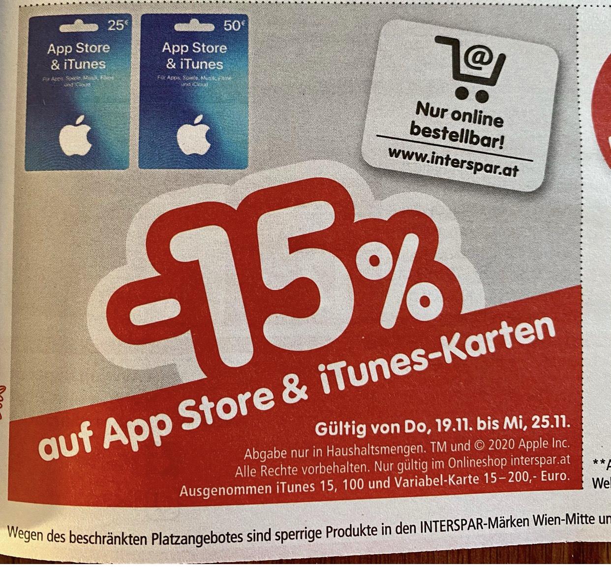 Interspar Onlineshop Itunes Karten -15%