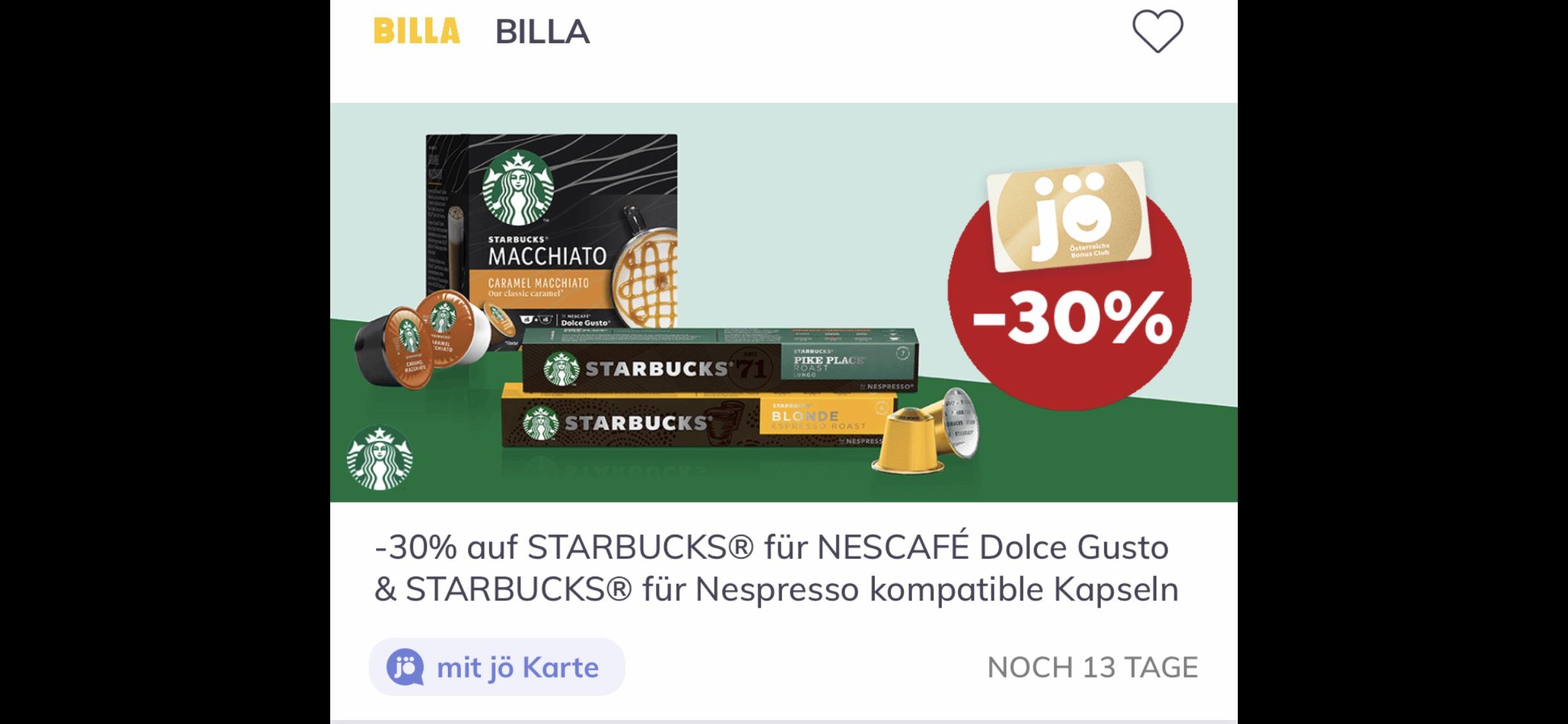 BILLA: Mit der Jö Karte gibts -30% auf STARBUCKS - Kaffee (Dolce Gusto & Nespresso)