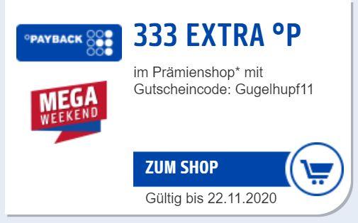 PAYBACK-Prämienshop: 333 Punkte Preisnachlass bei Prämienbestellung ab € 29,99