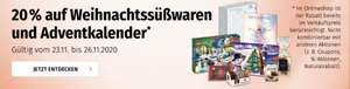 [ Müller ] -20% auf Adventkalender & Süßwaren