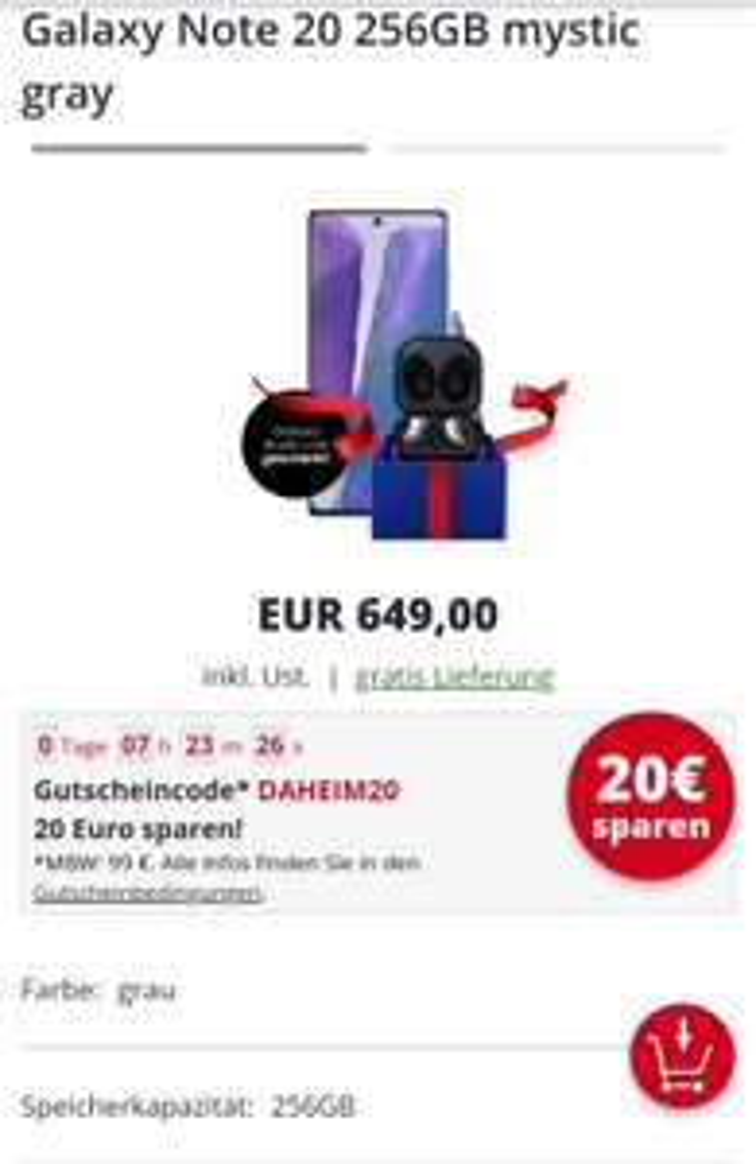 Galaxy Note 20 256GB mystic gray + Galaxy Buds Live gratis