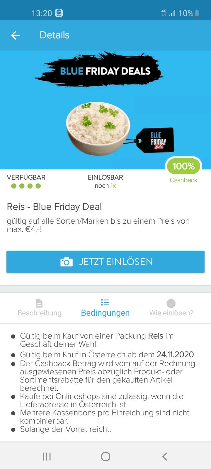 [Marktguru] 100 % Cashback auf Reis mit Promo-Code @ Blueweek