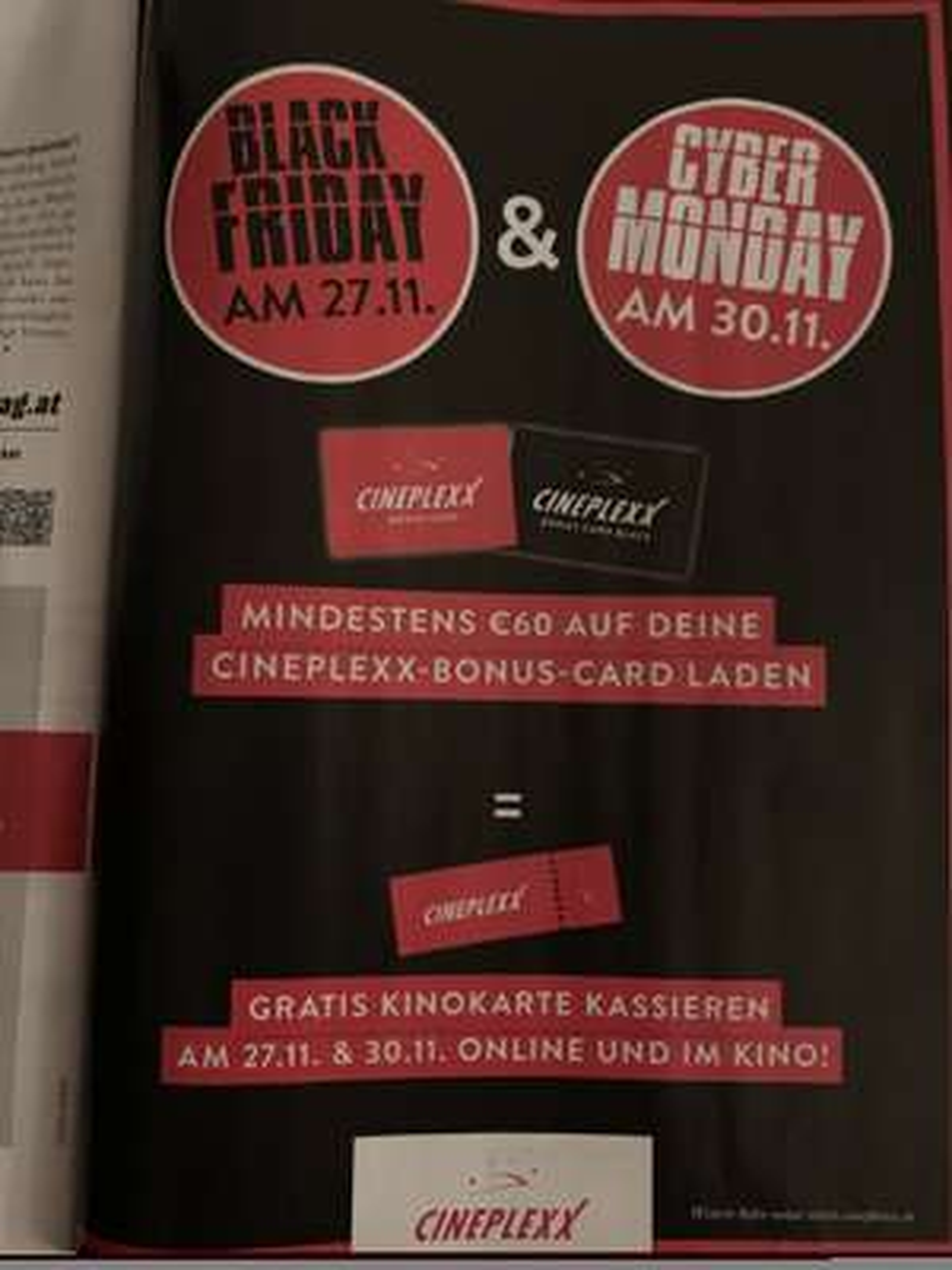 Cineplexx - Gratis Kinokarte bei Aufladung von € 60,- auf deine Bonus-Card