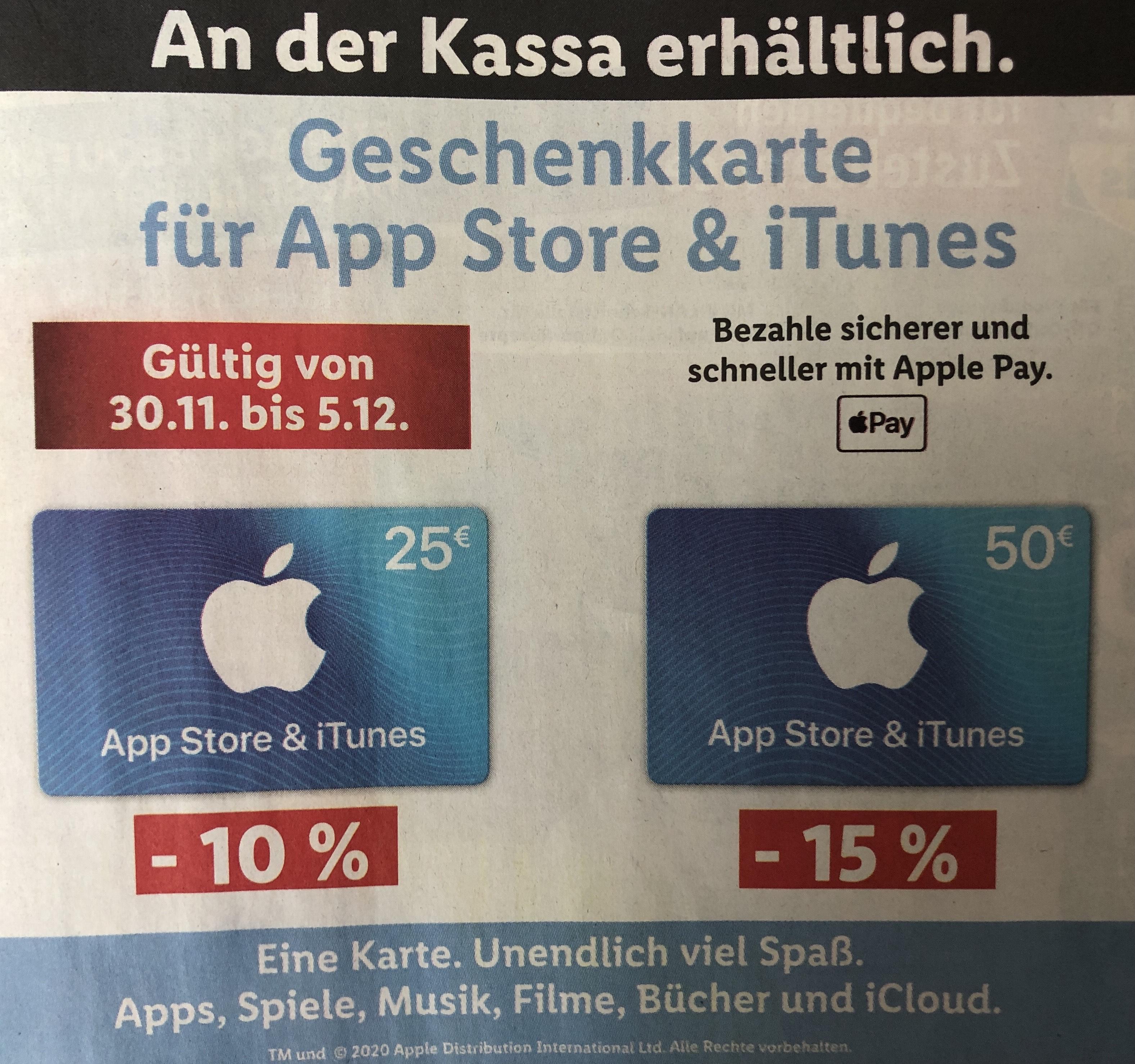 - 15 % Rabatt auf die € 50,— App Store und iTunes-Geschenkkarte