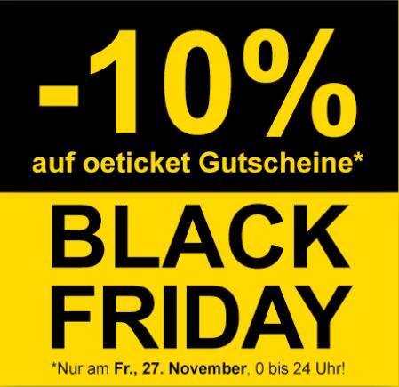 -10 % auf oeticket Gutscheine - Black Friday