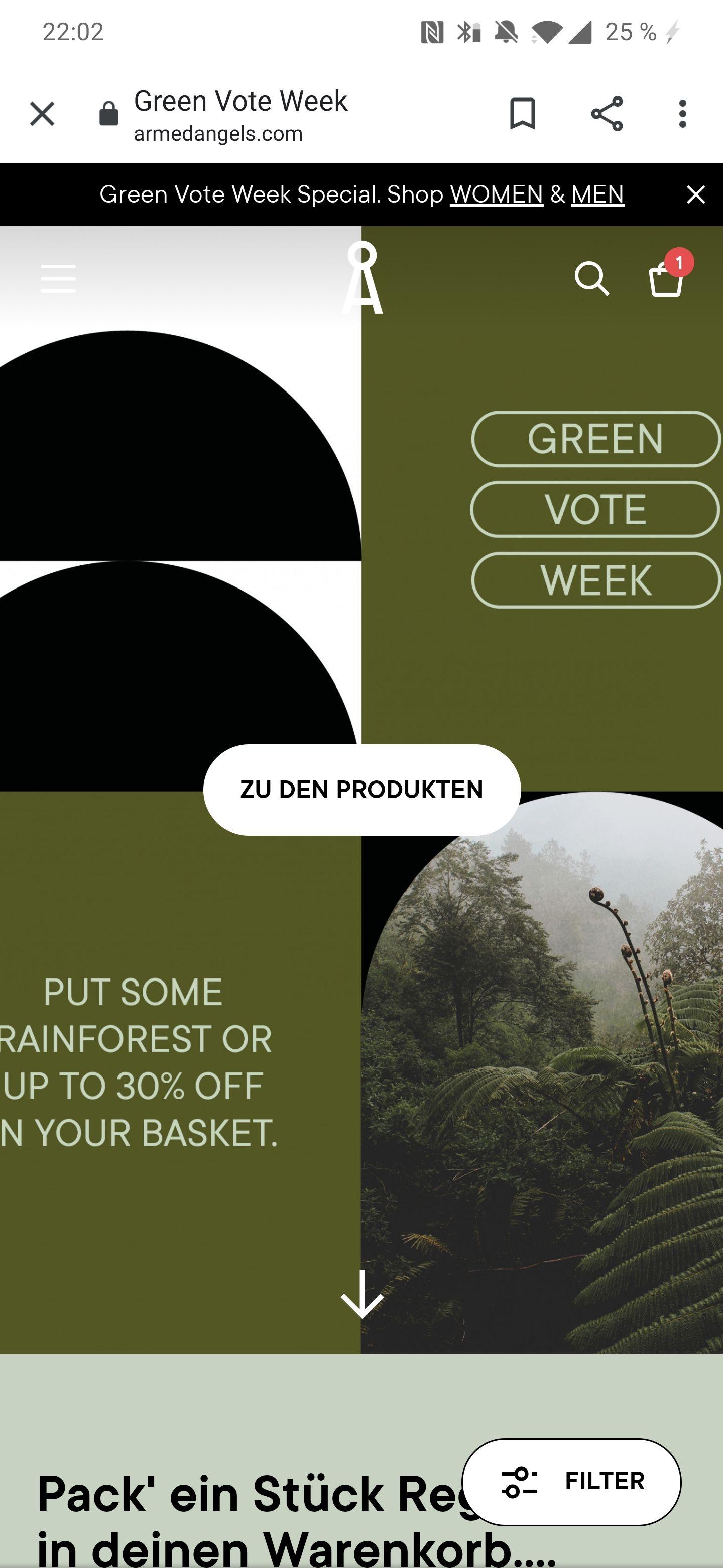 Bis -30% auf viele Artikel oder Regenwald schützen bei Armedangels