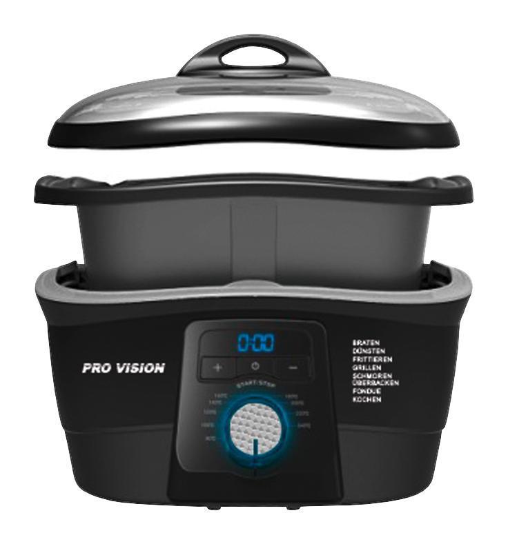 @Möbelix Pro Vision - Cooking Master 8in1 schwarz 1500 Watt mit Timerfunktion inkl. Dampfgareinsatz, Frittierkorb, 6 Fonduegabeln