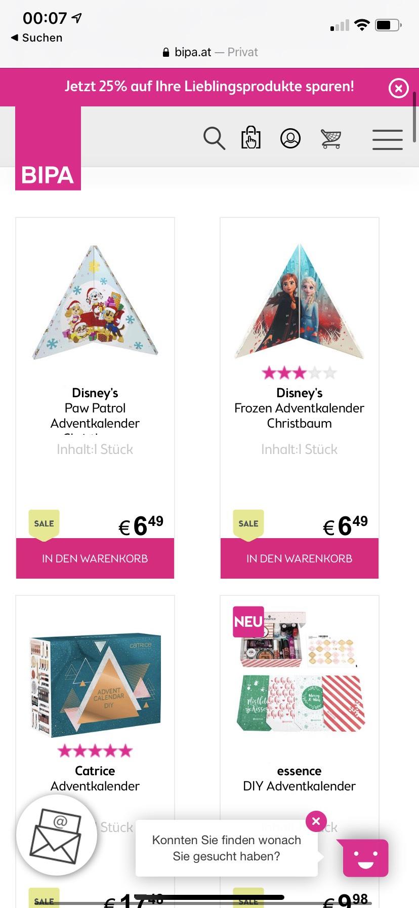 (Bipa) bis zu 50% auf Adventkalender Online und im Store