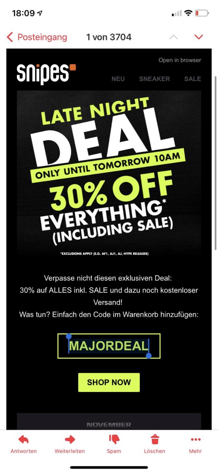 (Snipes) -30% auf fast alles inkl. Sale bis 10:00 Uhr