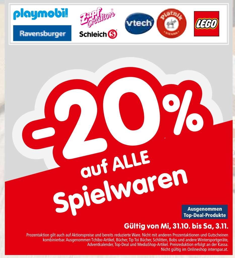 [Interspar] -20% auf alle Spielwaren inkl. Aktionen und Sale (Lego, Ravebsburger...) z.B.Ravensburger Eye Eye Captain um 8€ statt ab 21,71€