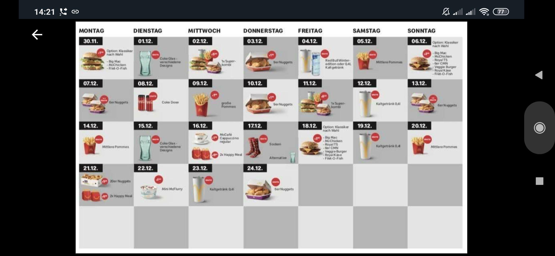 Adventkalender powered by McDonalds