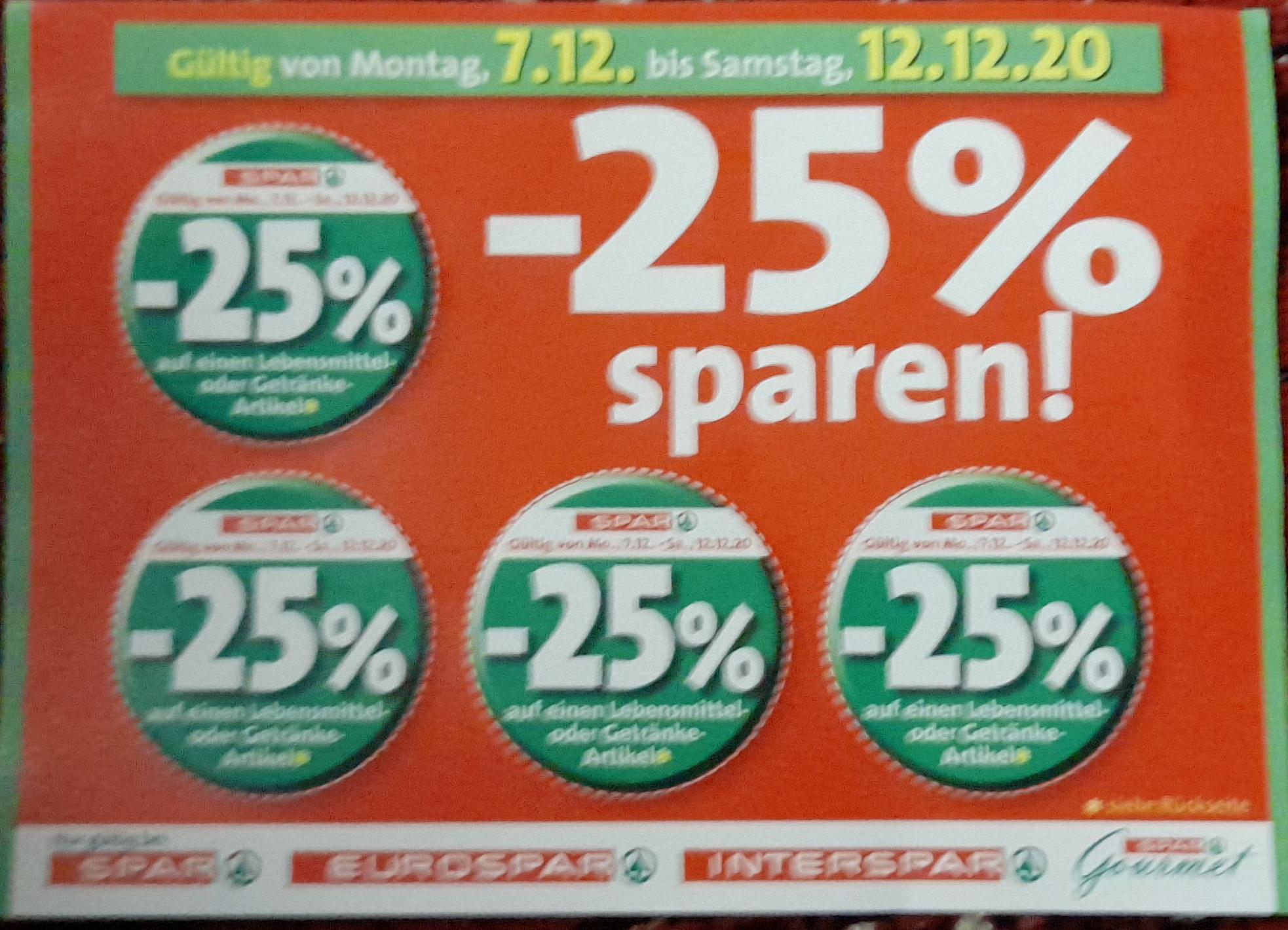 [Rabattjäger] 07.12 - 12.12.2020 - 25 % Sticker bei SPAR