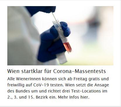 Corona Massentests in Wien: 4.12. bis 13.12.