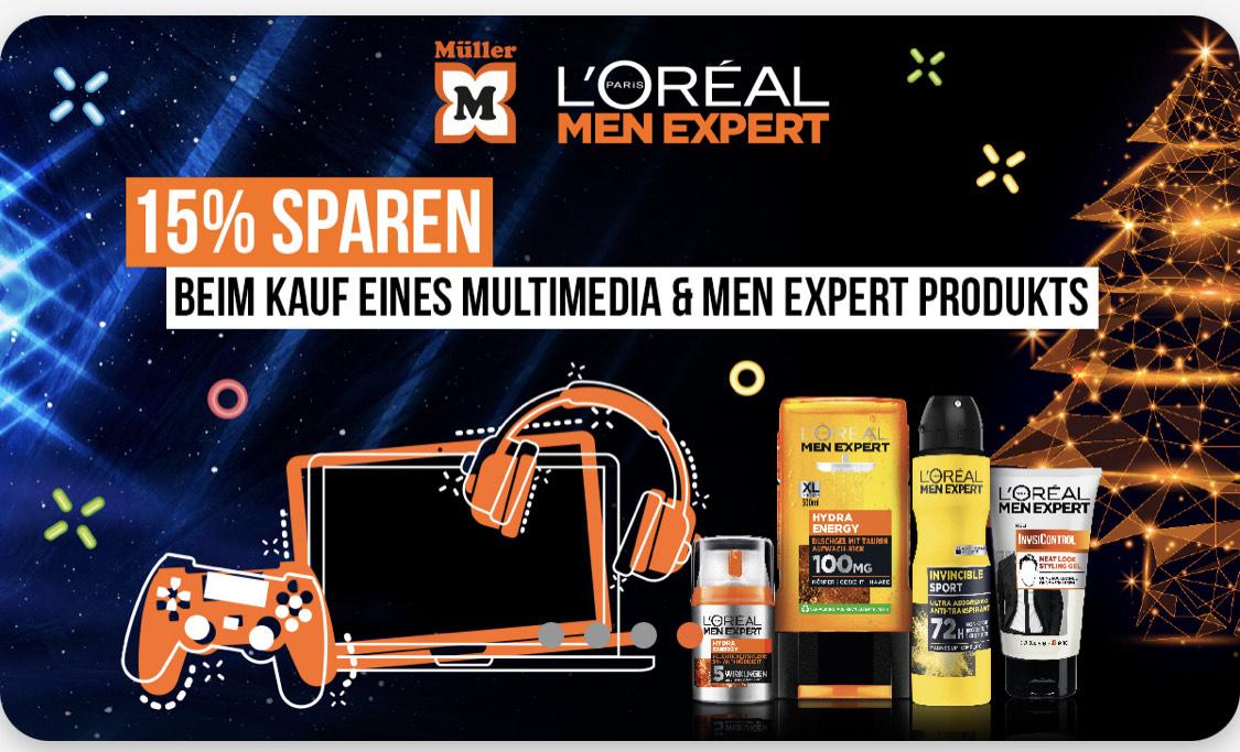 15% auf ein Loreal Men und Multimedia Produkt bei Müller