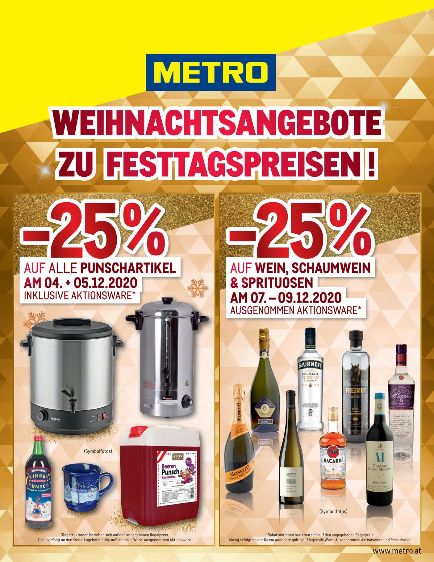 [Metro] 25% auf alle Punschartikel am 4. & 5.12. & 25% auf Wein usw am 7.-9.12