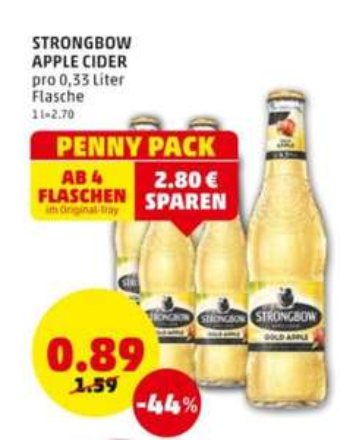 Kombination Marktguru + Penny: Strongbow Gold Apfel pro Flasche 45c