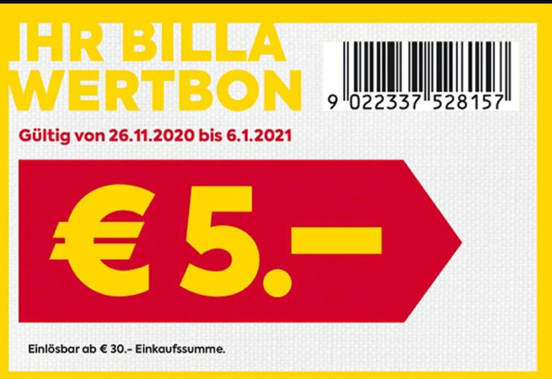 Billa: 5eur ab 30eur (vor Ort, ohne Kundenkarte)