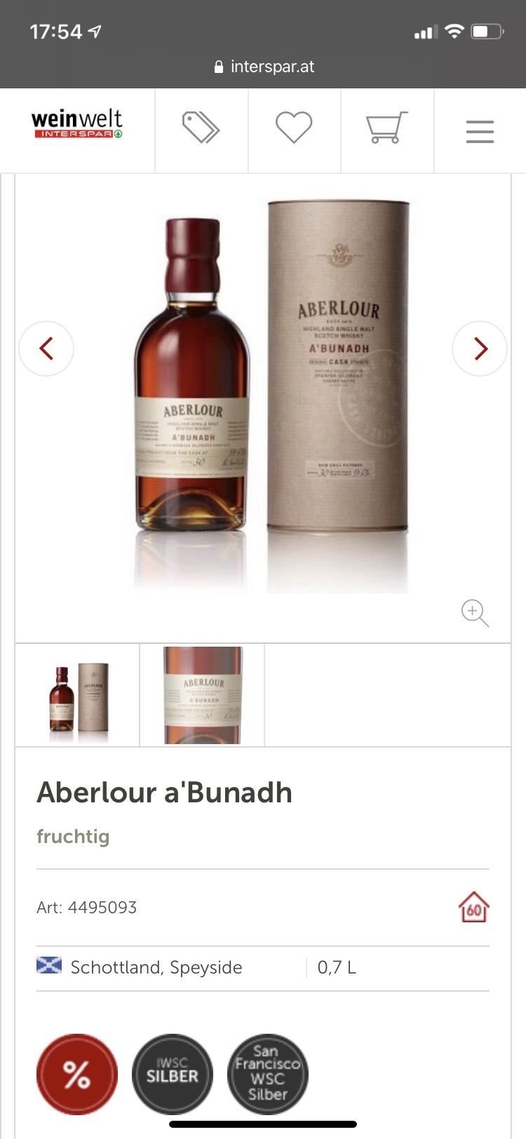 Aberlour a'Bunadh Bestpreis!!! (Bei Abholung)