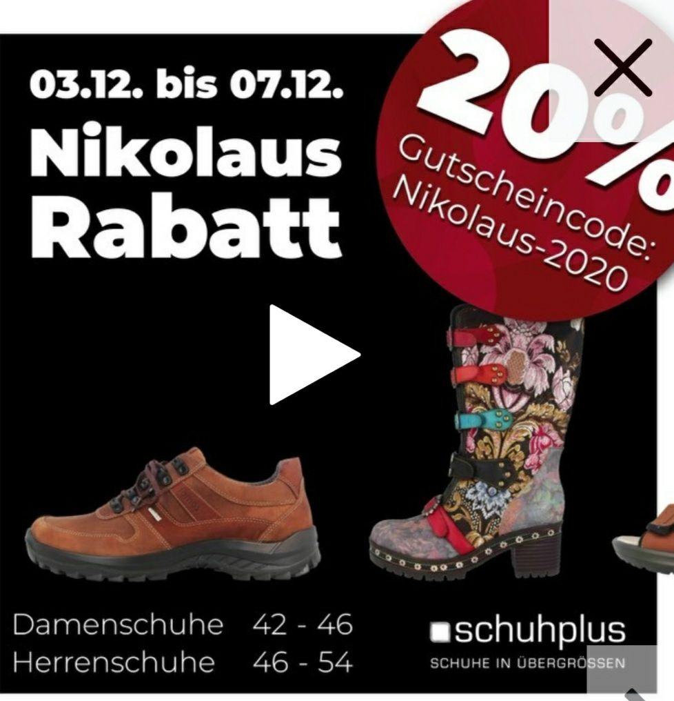 -20% auf alle Schuhe in XXL Größen auch im Sale mit Code NIKOLAUS-2020